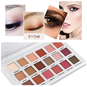 Best Pro Eyeshadow Palette Makeup - Matte + Shimmer 18 Colors - High Pigmented - Shimmer Glitter Eye Shadow Powder Matt Eyeshadow Cosmetic Makeup (Multicolor)