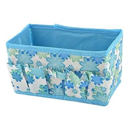 eDealMax Blanco Azul del Modelo de Flores ropa Interior calcetines plegable Caja de almacenamiento Bolsa
