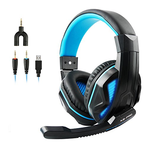 VOSENSE X2-PRO Wired Stereo Gaming Headset USB LED Lights for PC 3.5mm Over-Ear Headphones and Volume Control for PS4, PC, MAC, Notebook, Mobiles, Exquisite Packing