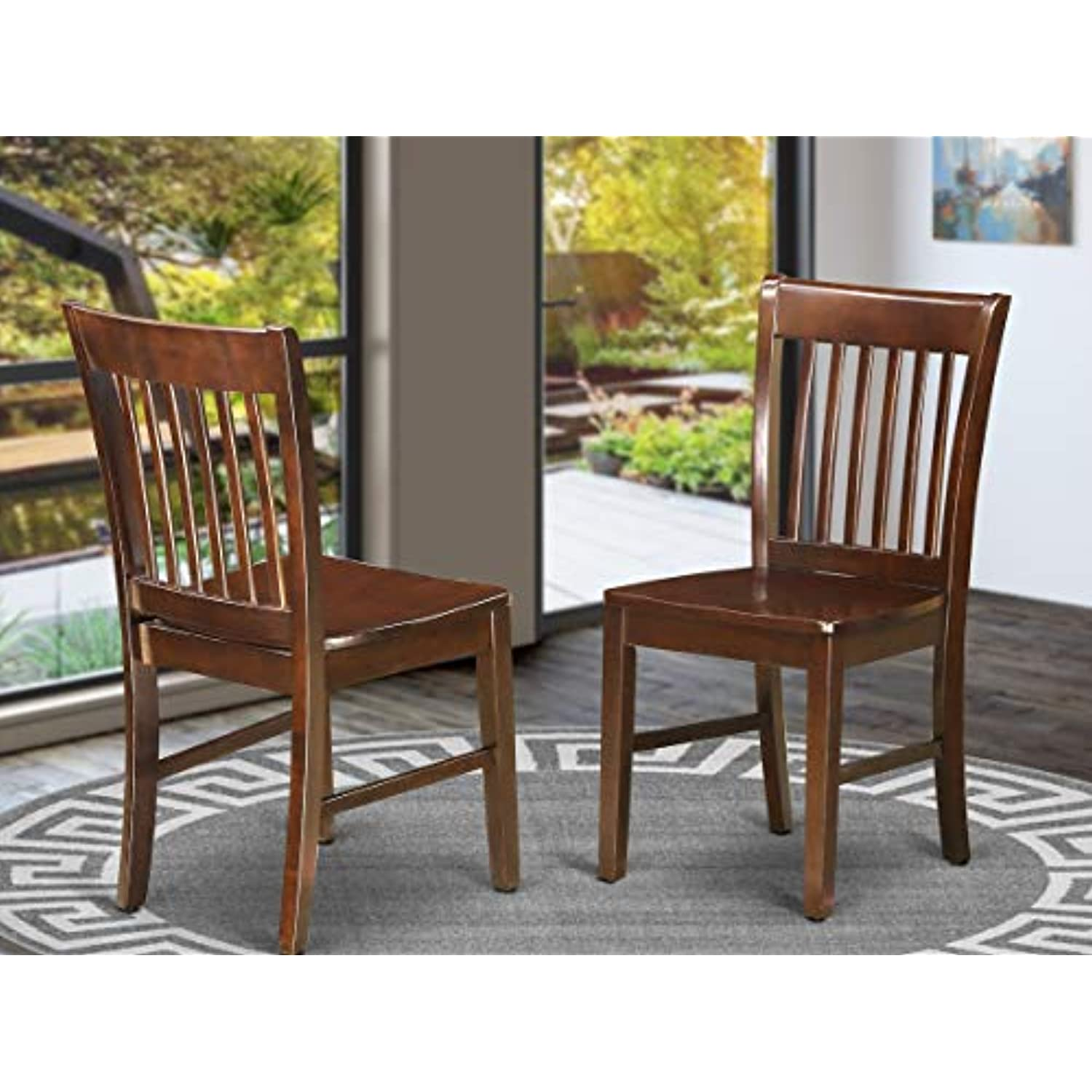 East West Furniture Norfolk Modern Dining Chairs - Wooden Seat and Mahogany Hardwood Frame Dining Room Chair set of 2