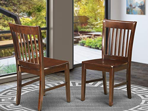 East West Furniture Kitchen/Dining Chair Set with Wood Seat, Mahogany Finish, Set of 2