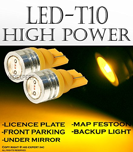 - ICBEAMER 2 PRS T10 168 194 Fit Dome Parking Backup License Plate 1 LED SMDs Replace Halogen Bulbs [Color: Super Yellow]