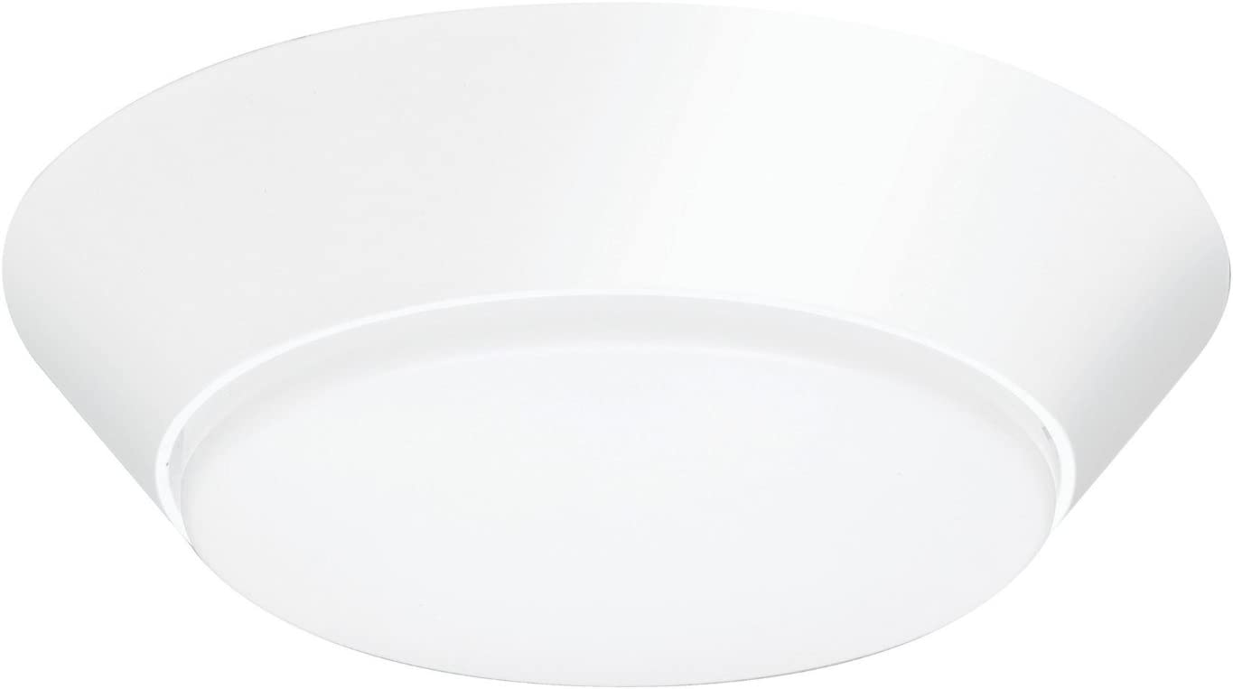 Lithonia Lighting Contractor Select 7 inch Round LED Flush Mount Thin Ceiling Light White 4000K Dimmable Wet Listed