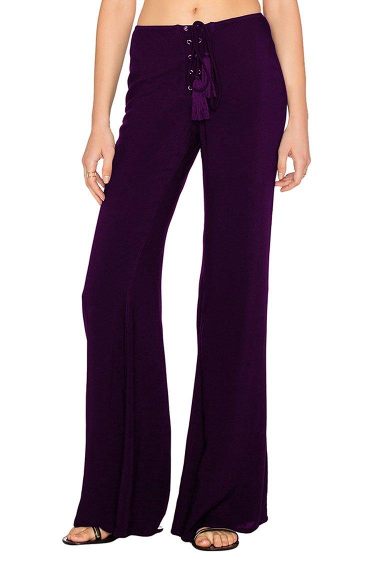 LOV ANNY Women's Elastic Waist Lace Up Palazzo Bell Bottom Pants M