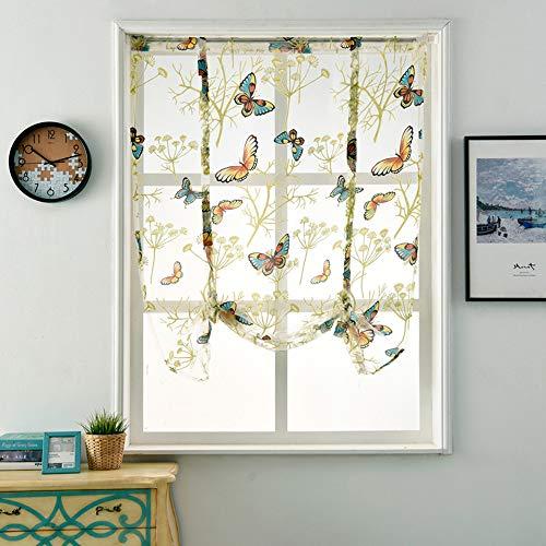 (Transer- Butterflies Printing Roman Shades Blinds Gauze Window Curtain Valance with Rod Pocket, 48