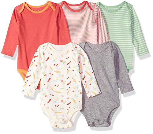 Moon and Back Baby Set of 5 Organic Long-Sleeve Bodysuits, Garden Party, -