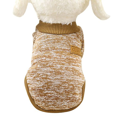 Basic Costumes Boots (Mikey Store Pet Dog Clothes Soft Thickening Warm Stripe Polar Fleece Winter Clothes (Khaki, L))