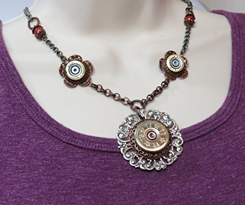Shotgun Shell Necklace 12 Gauge and 410 Silver and Copper Bullet Shell Casing
