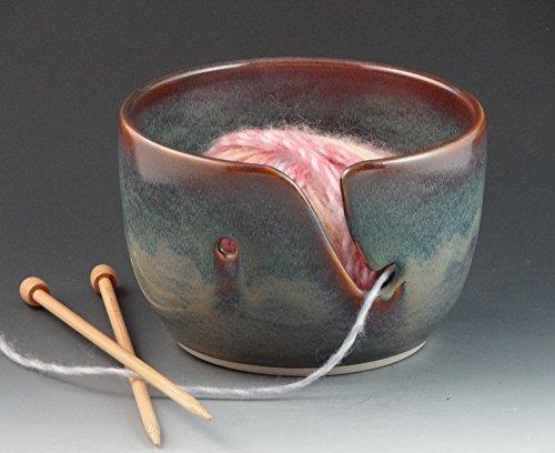Yarn Bowl in Heathery Light Blues & Greens ()
