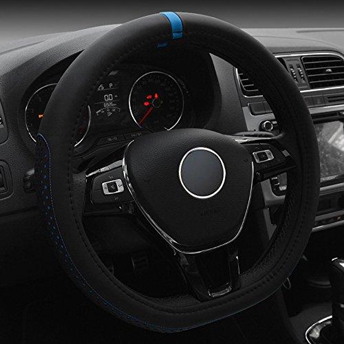 FULL WERK D Type Fashionable Microfiber Leather Steering Wheel Cover Sporty Style, Durable, Anti-Slip, 15