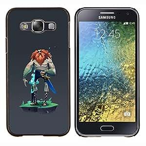 "Be-Star Único Patrón Plástico Duro Fundas Cover Cubre Hard Case Cover Para Samsung Galaxy E5 / SM-E500 ( Vikingo Big Man Warrior Espada Barbarroja Fuerte"" )"
