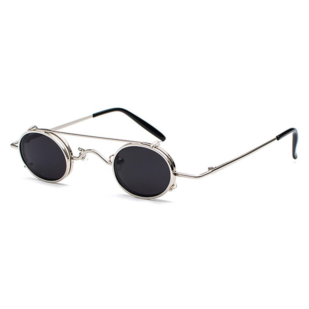 Juleya Retro Vintage Sonnenbrille Damen Herren Kleine Runde Steakpunk Abnehmbare Sonnenbrille