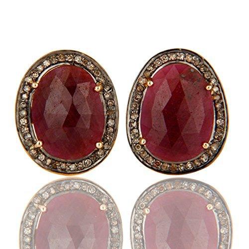 Gemstone Cufflinks, 925 Sterling Silver Pave Diamond Jewelry, Ruby Gemstone Cuff link Jewelry For Men's