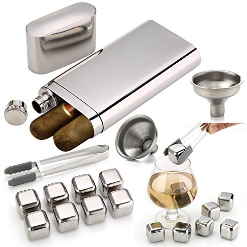 Stainless Steel Chilling Rocks / Stones (8) + Dual Cigar Flask (1) [Gift Set] + Funnel (1) + Tongs (1) [FDA Approved] (Best Alcohol With Cigars)