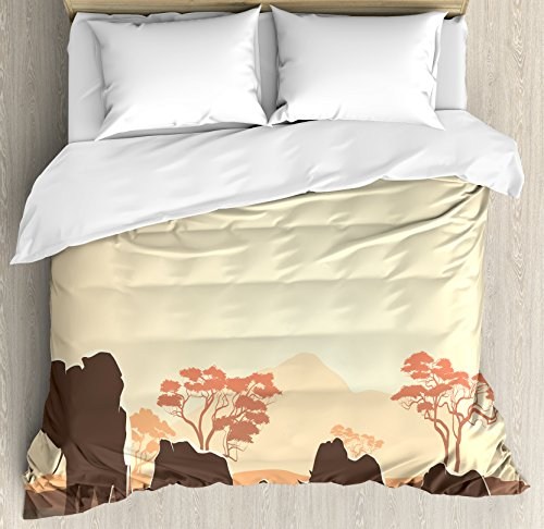 Africa Queen Size Duvet Cover Set by Ambesonne, African Wildlife Safari Big Animal Elephants in Forest with Lake Nature Scene, Decorative 3 Piece Bedding Set with 2 Pillow Shams, Pale Yellow Brown by Ambesonne