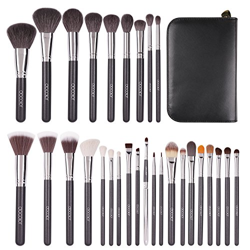 Docolor Makeup Brushes 29 Piece Professional Makeup Brush Set Premium Goat Hair Kabuki Foundation Blending Brush Face Powder Blush Concealers Eye Shadows Make Up Brushes Kit with PU Leather Case (Brushes Goat Hair Makeup)