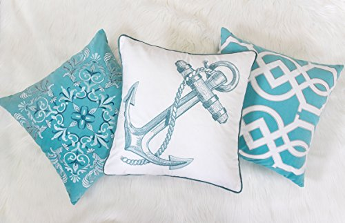 Homey Cozy Embroidery Teal Velvet Anchor Throw Pillow Cover,Ocean Series Nautical Decorative Pillow Case Coastal Beach Theme Home Decor 20x20,Cover Only