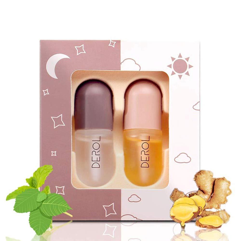 Natural Lip Plumper, Lip Care Serum, Nenrte Lip Plumping Balm, Moisturizing Clear Lip Gloss for Fuller Lips & Hydrated Beauty Lips (2PCS,Daiky Use and Night Use)