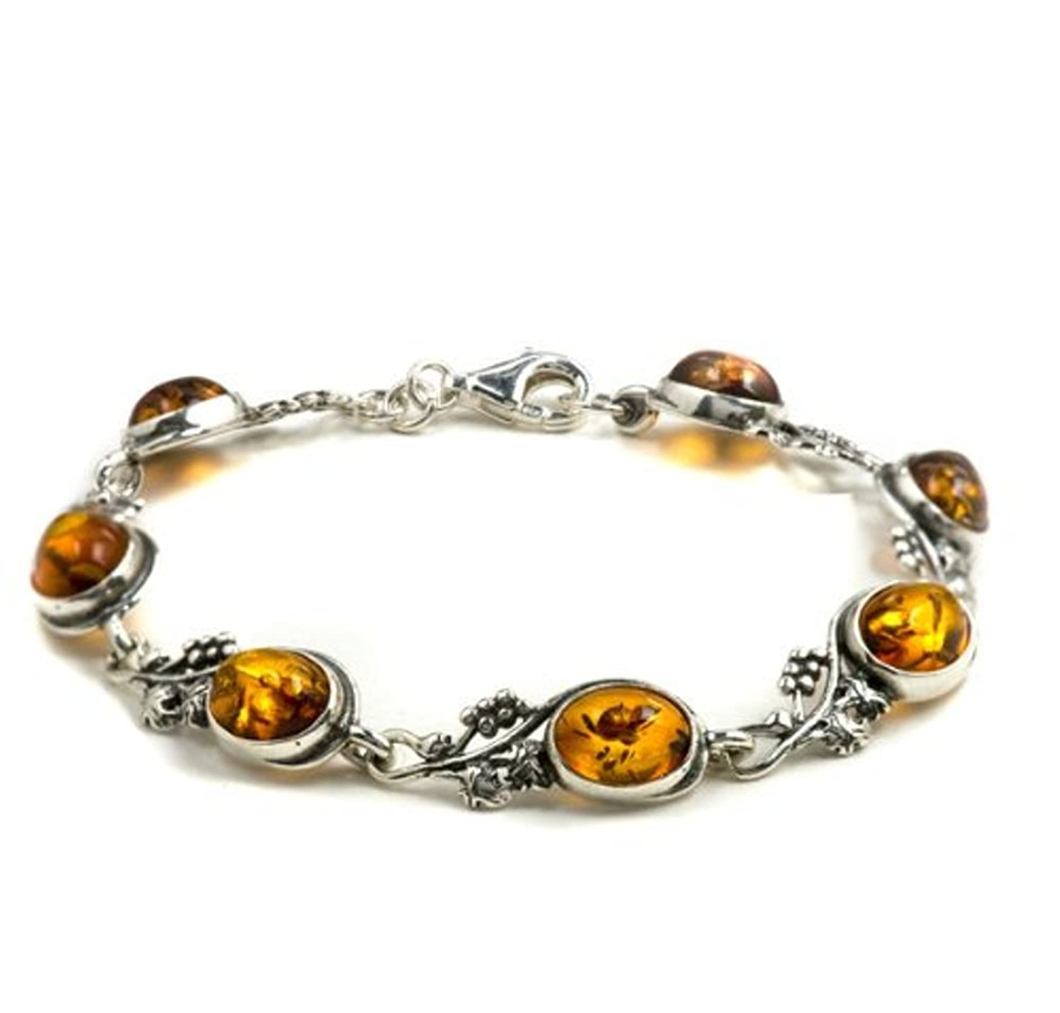Honey Amber Sterling Silver Fashion Style Grape Vine Bracelet 7""