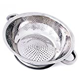 Kÿchen Rust Proof Stainless Steel Kitchen Colander for Straining, Steaming, Draining & Rinsing (11- Inch)