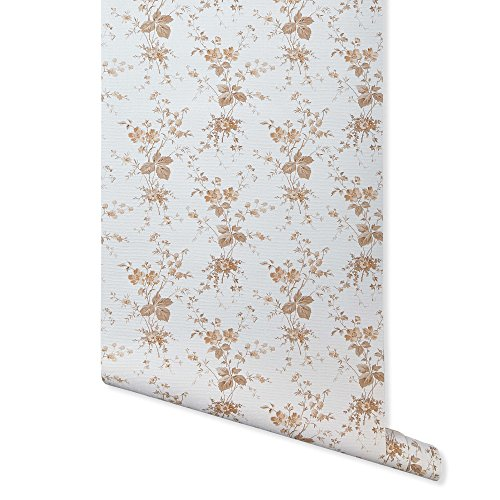 Petite Bouquet Pattern - Press Floral, Off White/Tan Wallpaper for Walls - Sample Swatch - Romosa Wallcoverings AH7106
