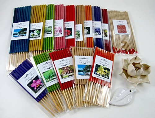Fulllight aroma set, Thai tradition temple incense, 9 packs of 10 smokeless aroma incense tube, 5 packs of 10 small size fragrance incense tube & 2 handmade ceramic Incense burner (FL47) by Fulllight