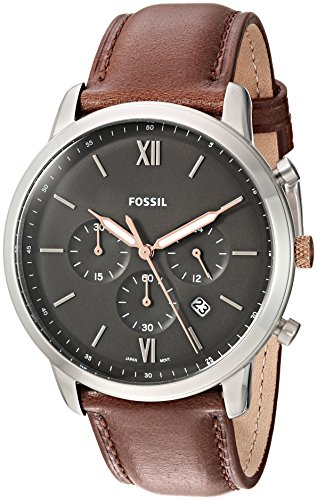 Fossil Men's Neutra Stainless Steel Quartz Watch with Leather Calfskin Strap, Brown, 22 (Model: FS5408)