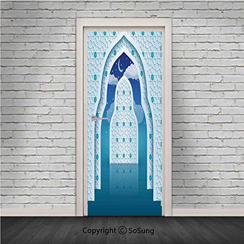 Moroccan Door Wall Mural Wallpaper Stickers,Arabic Quote Textured Mosque Arch Door with Cloudy Star Sky Night Backdrop Print,Vinyl Removable 3D Decals 30.4x78.7/2 Pieces set,for Home Decor Navy Blue