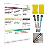 Dry Erase Board Magnetic Whiteboard for Fridge by Nardo Visgo with 3 Magnetic Markers and 2 Erasers,Message Note Board for Meal Planning Chores to do List and Grocery List 16''X11.4'' Multicolor