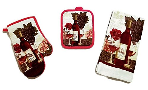 Wine And Grapes Linen 3 Piece Bundle Package Oven Mitt (1) Pot Holder (1) Kitchen Towels (1) (#4323)