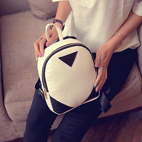 concise Women Backpack School White Serpentine Bag Book Kemilove Canvas Shoulder Rucksack pFqFwt