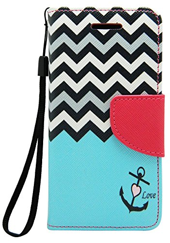 iPhone 5C Case, Wallet Credit Card ID Holder Folio Book Type Kickstand View Hybrid for Apple iPhone 5C by Case Loca (Chevron Blue)
