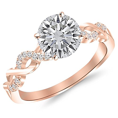 14K Rose Gold 0.87 CTW Round Cut Twisting Infinity Gold and Diamond Split Shank Pave Set Diamond Engagement Ring, H-I Color I1 Clarity Center Stone by Houston Diamond District