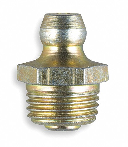 M10-1.50mm-Metric Straight Head Angle, Standard Grease Fitting, Zinc-Plated Steel, 16.6mmL, 8000 psi, Pack of 5