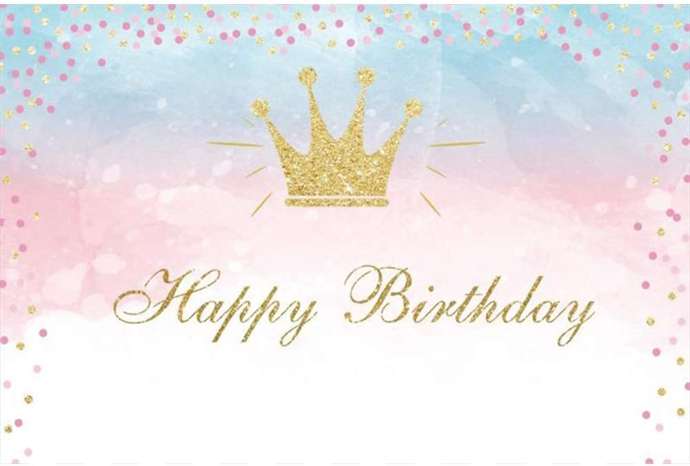 CdHBH Happy Birthday Backdrop 7x5ft Golden Crown Vinyl Photography Background Pink and Golden Dots Children Girls Woman Baby Party Photo Props Studio Poster Banner Decor