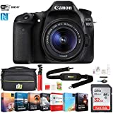 Cheap Canon EOS 80D 24.2 MP CMOS DSLR Camera w/EF-S 18-55mm f/3.5-5.6 is STM Lens (1263C005) w/ 32GB Deluxe Accessory Bundle Includes, Deco Gear Camera Bag and Photo and Video Professional Editing Suite