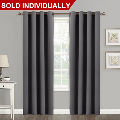 Blackout Blind Curtain Window Treatment - (Gray / Grey Color) Thermal Insulated Drape Shade with Grommet For Sliding Glass Door by NICETOWN, W52 x L84 Inch, 8 Grommets / Rings Top, 1 (Gray Rectangular Ring)