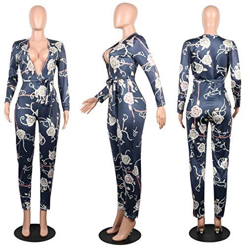 ... Floral Femme V shirt Imprim Jumpsuit T Romper Partywear Fonc Col  Manches Bleu Bodycon Profond Longues ... 0e5020fb942e