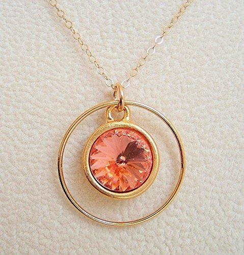 Rose Gold Framed Ring (Rose Peach Swarovski Elements Circle Crystal Frame Necklace Gold Filled Chain 24