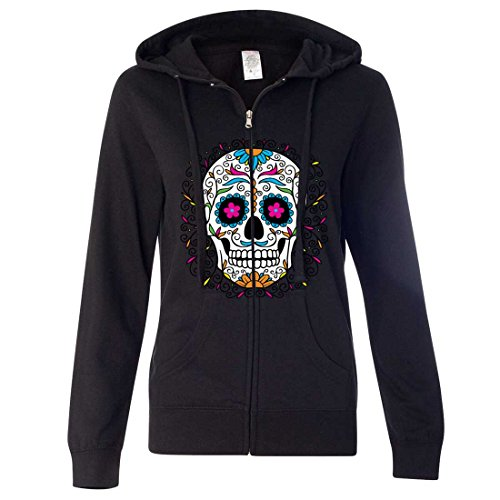 Dia De Los Muertos Pastel Sugar Skull Ladies Zip-Up Hoodie - Black -
