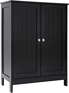 Iwell Bathroom Floor Storage Cabinet with 2 Adjustable Shelf, 3 Heights Available, Free Standing Kitchen Cupboard, Wooden Storage Cabinet with 2 Doors, Office Furniture