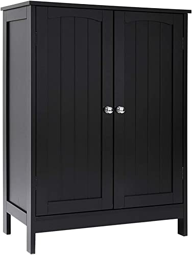 Iwell Bathroom Floor Storage Cabinet with 2 Shelf, 3 Heights Available, Free Standing Kitchen Cupboard, Wooden Storage Cabinet with 2 Doors, Office Furniture, Black YSG003H