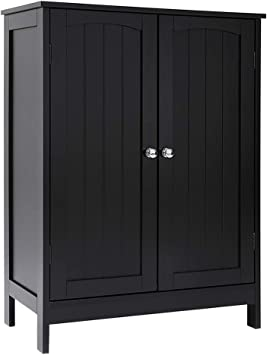 Amazon Com Iwell Black Bathroom Floor Storage Cabinet With 2 Shelf 3 Heights Available Free Standing Kitchen Cupboard Wooden Storage Cabinet With 2 Doors Office Furniture Kitchen Dining