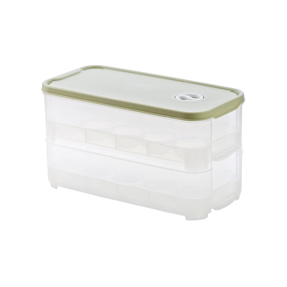Baffect Fridge Eggs Holder Boxes Storage 20 Grids Egg Trays Case container Plastic Home Kitchen Food Refrigerator Newly-Singal layer (Green)