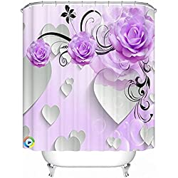 "Alicemall 3D Flower Bathroom Shower Cutain Purple Peony White Heart 3D Bath Curtain Polyester Flower Bathroom Curtain Set, 12 Free Curtain Hooks (79""W x 71""H)"