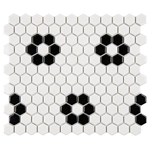 - SomerTile FXLM1HGH Retro Hex Heavy Flower Porcelain Floor and Wall Tile, 10.25