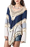lovecarnation Women's Hollow Long Sleeves Crochet Bikini Blouse Loose Bohemian Beachwear Cover Tops Blue