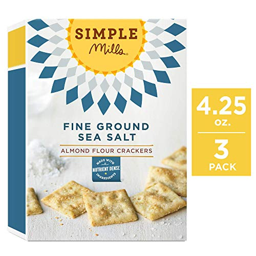 Simple Mills Almond Flour Crackers, Fine Ground Sea Salt, 4.25 Ounce (Pack of 3)