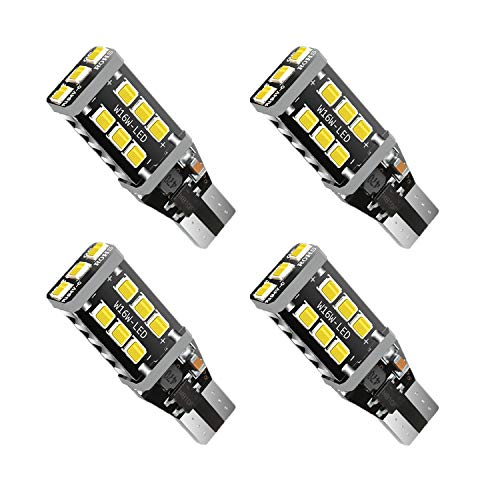 Earthland (2019 NEW MODEL) 4Pcs Extremely Bright 921 LED Bulb 2200 Lumens Error Free 921 912 T15 T10 W16W LED Bulb for Backup Reverse Lights Xenon White (921 Replacement Led Bulbs)