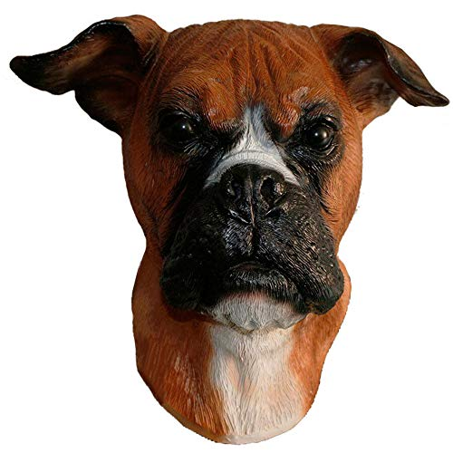 Boxer Halloween Costume For Dog (Realistic Latex Boxer Dog Animal Head Mask Halloween Hen Stag)